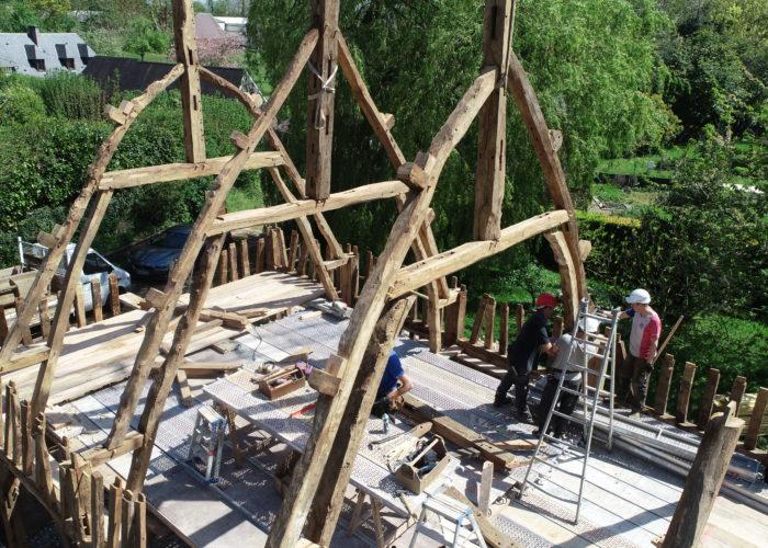 Construction de maison neuve en colombages